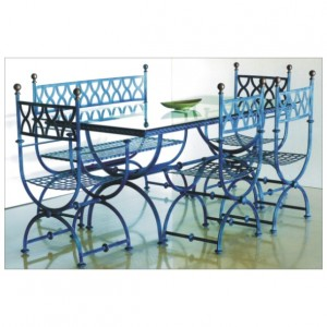 Mesas y sillas de forja, jardín, hostelería y madera