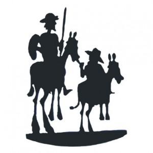 Don Quijote y Sancho Panza de forja, barro...