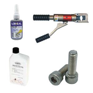 Pegamentos, líquidos, maquinaria y tornillos en acero inoxidable