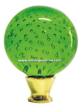 32-RL Remate latón cristal verde