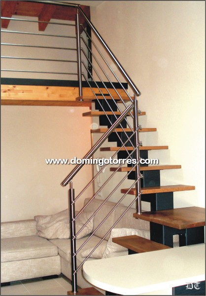 Baranda Moderna De Acero Inoxidable N 2124 En Escalera De