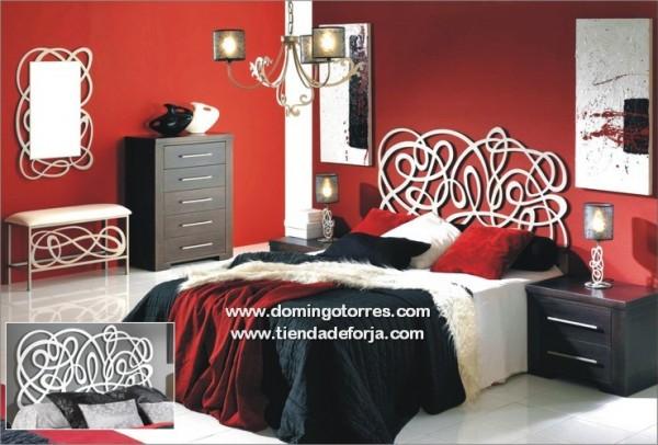 Cama y cabecero moderno de forja blanca c 39 algarabia - Dormitorios de forja modernos ...