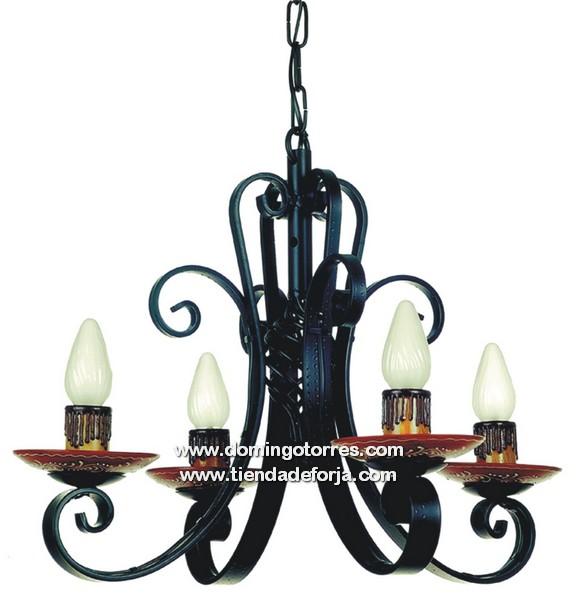 Lámpara barata de forja con cerámica l 18 ‹ forja domingo torres s.l.