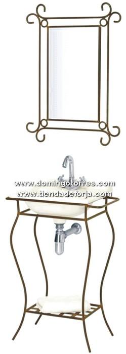 Espejo y mueble de forja art stica para lavabo de ba o b - Mobiliario de forja ...