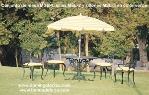 Conjunto de mesa, sillas y sillones de aluminio modelo inglés MSE-1 MSE-2 MSE-3