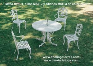 Conjunto de mesa, sillas y sillones de aluminio modelo inglés MSE-1 MSE-2 MSE-3 blanco