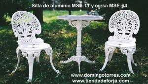 Conjunto mobiliario de jardín silla MSE-11 pavo real y mesa MSE-64
