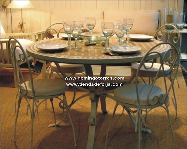 Conjunto de mesa y sillas de forja n 7 forja domingo for Mesas y sillas de forja