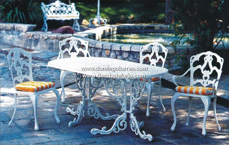 Mesa silla y sill n de alumino para exterior mse 1 mse 2 for Sillas de forja para jardin
