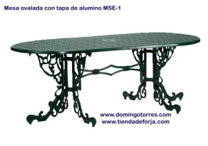 MSE-1 Mesa ovalada de aluminio modelo inglés