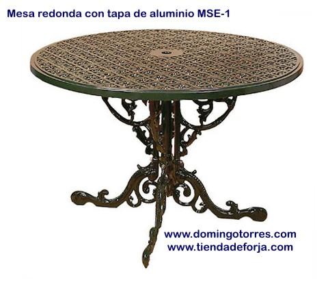 Mesa de aluminio mse 1 silla mse 19 y sill n mse 20 para - Mesas de jardin de forja ...