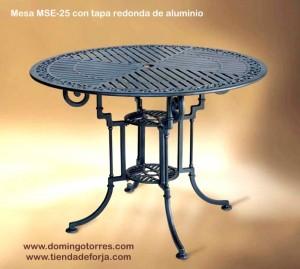 MSE-25 Mesa de aluminio para patios, jardines y terrazas