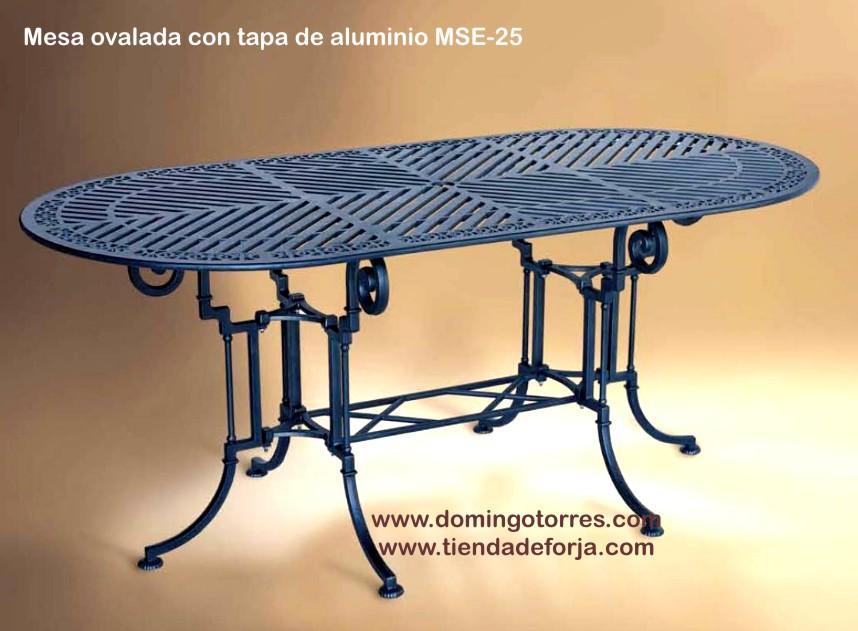 Mesa sill n y sof banco de aluminio para patios - Mesas de forja y cristal ...
