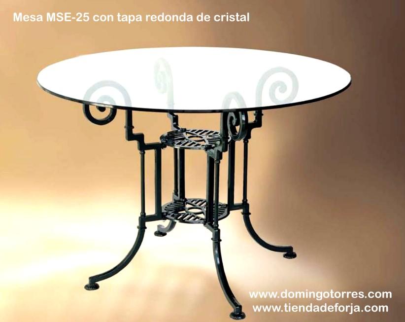 Mesa mse 25 y silla mse 41 para jard n forja domingo for Mesas redondas de cristal