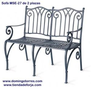 MSE-27 Sofa banco para patios, terrazas y jardines zahara
