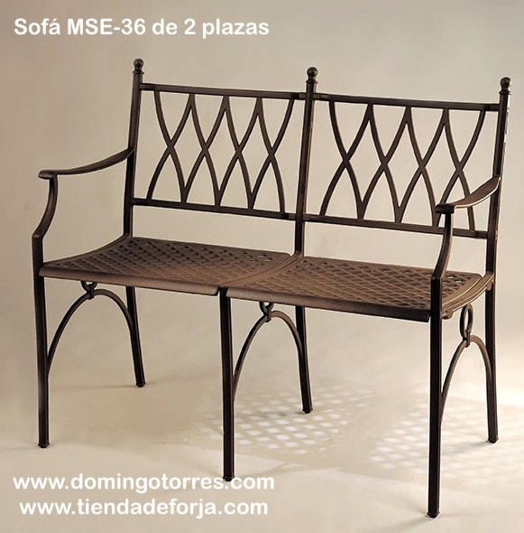 Mesa mse 28 sill n mse 35 y sof mse 36 y mse 37 forja for Bancos de aluminio para jardin