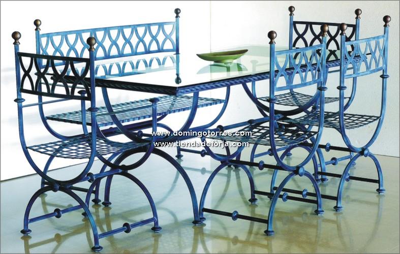 Conjunto de mesas sillas sillones y sof de forja for Sillas de forja para jardin
