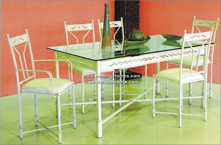 Conjunto de mesa y sillas de forja n 2 forja domingo for Mesas y sillas de forja