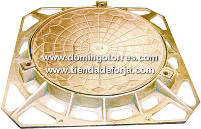 TS-25 Tapa redonda de fundición con marco cuadrado