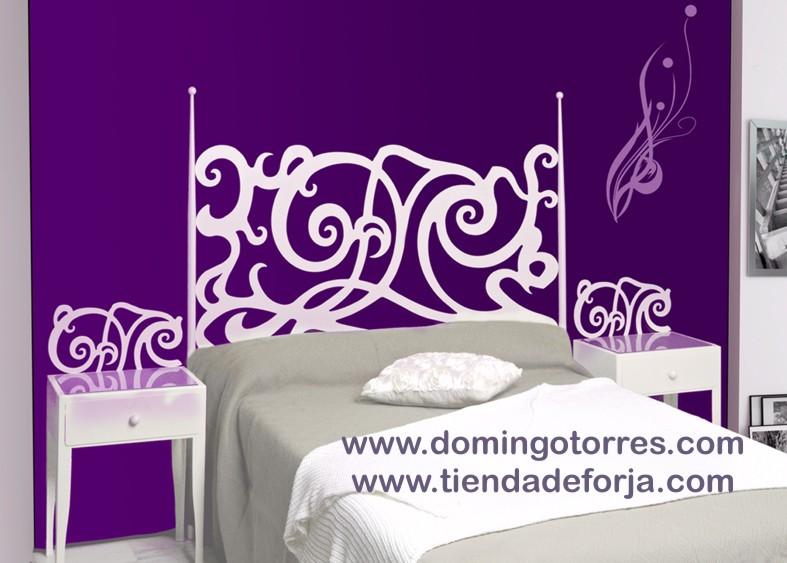 Cabecero y cama de forja blanca para dormitorio moderno y - Cabeceros forja economicos ...