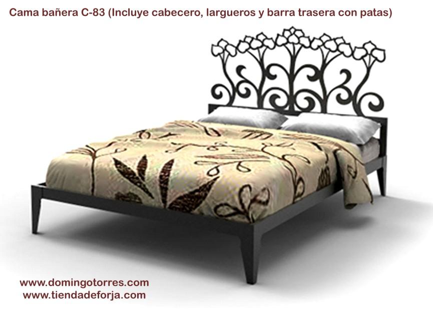 Cabecero cabezal y cama de forja con tulipanes c 83 for Cama de forja blanca