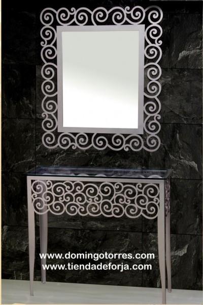 Consola y espejo forja moderna con rizos CE-29