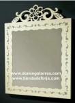 Espejo de forja artística y madera CE-54