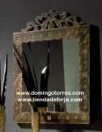 Espejo forja artística y madera CE-57
