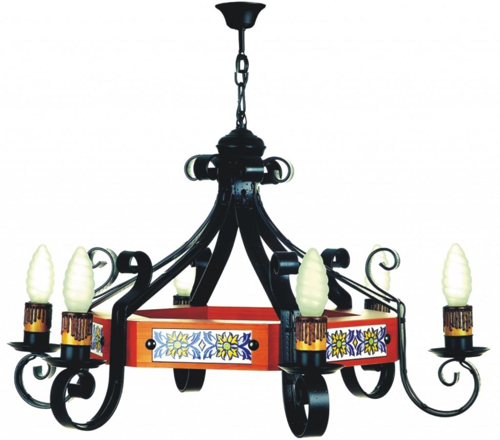 Lámparas rústicas de techo en forja artística