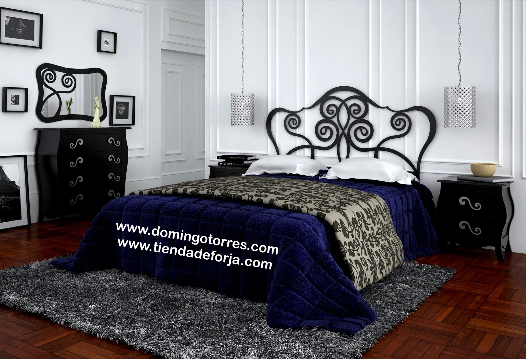 Cama cabecero y cabezal de forja juvenil con rizos c 108 - Cabeceros de cama antiguos ...