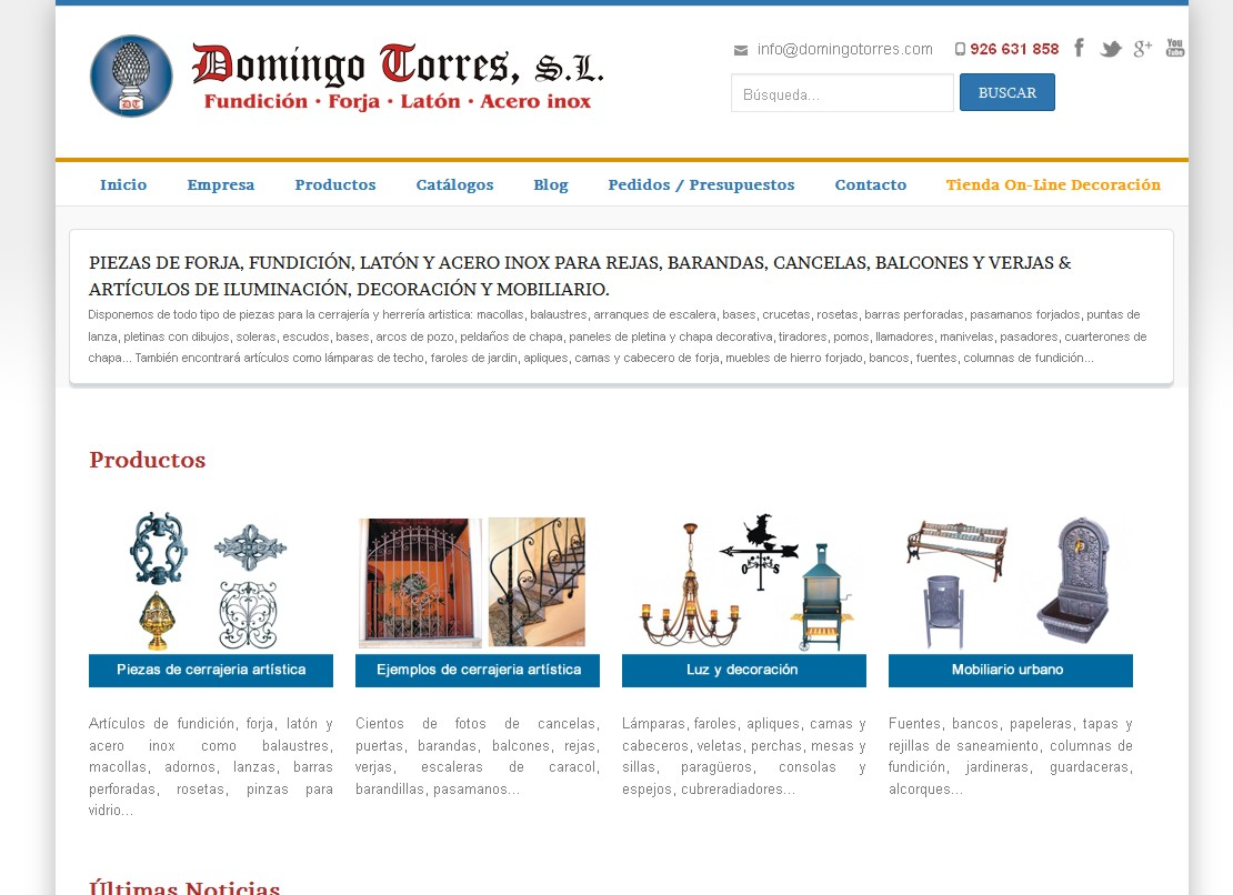 Nueva web responsive de forja domingo torres forja - Domingo torres forja ...