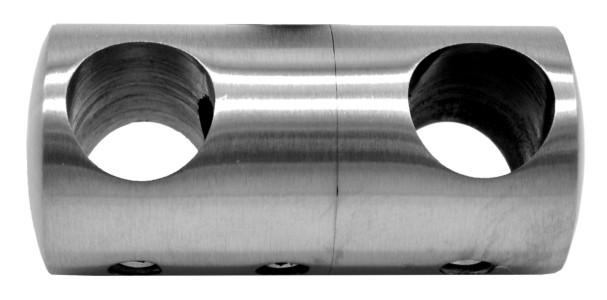 773-INOX Soporte doble inox satinado para barras redondas