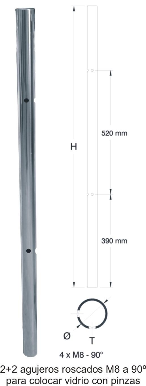 2502-INOX Arranque acero inox espejo 2+2 roscas M8 a 90º