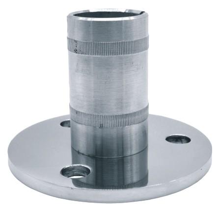 2550-INOX Soporte acero inox espejo para tubo, poste o arranque