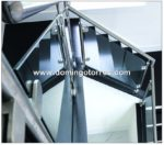 Nº8421 Foto de barandilla de acero inox y cristal sobre muro