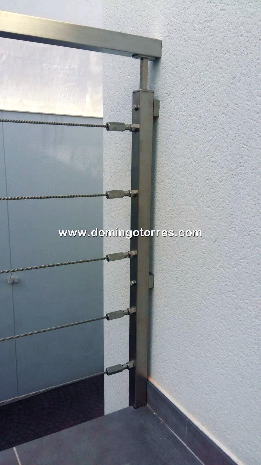 Nº8703 Baranda exterior recta con cables de acero inox